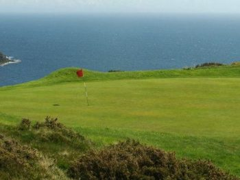 King Edward bay golf course on the isle of man showing views out to sea